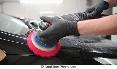 polisseur, lent, motion., magasin, auto, orbital, -, réparation voiture, mains, détailler