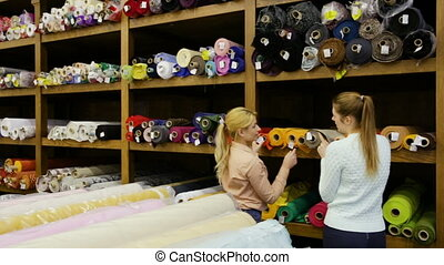 female seller helping young woman in choice of interesting cloth in textile shop