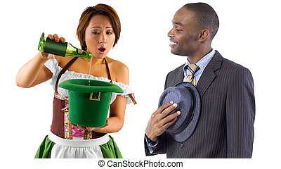 Politeness - young black businessman being polite by taking...
