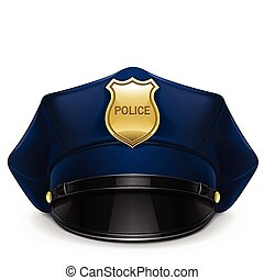 politi, peaked cap, hos, cockade