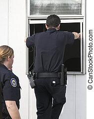 politi, undersøge, indbrud