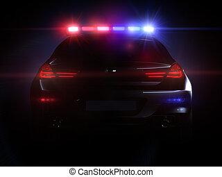 politi vogn, hos, fulde, klæde, i, lys