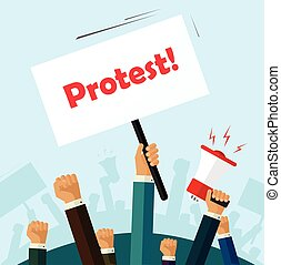 Politic protest signs crowd of people protesters revolution placard cartoon