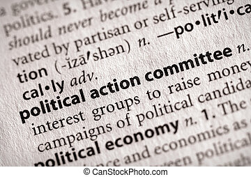 Political ActionCommittee - Selective focus on the words...