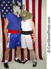 Political adversaries - Republican and Democrat - posing in...