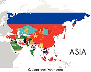 Political Asia Map vector illustration with the flags of all asian countries. Editable and clearly labeled layers.