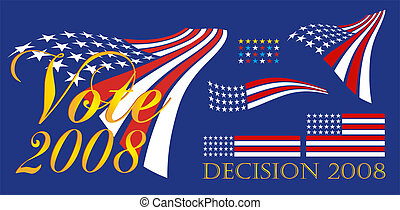 Political campaign banner and patriotic symbols in red, white and blue - USA.