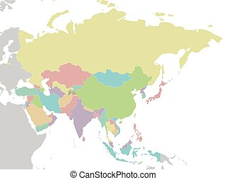 Blank asia map. Blank asian regional map in orthographic projection.