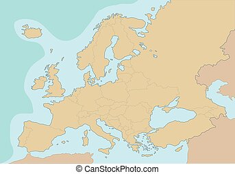 Political blank map of Europe Vector Illustration
