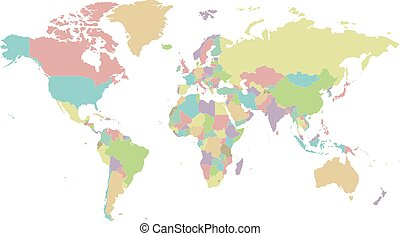 Blank Political World Map In Grey With White Borders Vector
