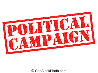 POLITICAL CAMPAIGN red Rubber Stamp over a white background.