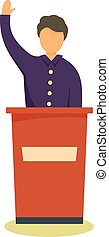 Political candidate icon, flat style - Political candidate...