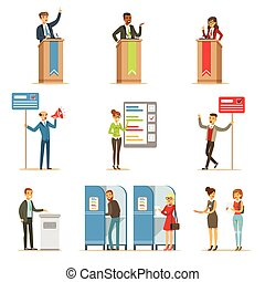 Political Candidates And Voting Process Set Of Democratic Elections Themed Illustrations