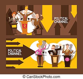 Political channel set of banners vector illustration. Male...
