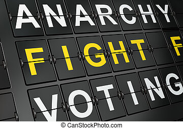 Political concept: Fight For Freedom on airport board background