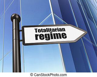 Political concept: sign Totalitarian Regime on Building...