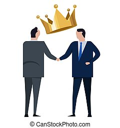 political deal power transition two politician handshake with crown government agreement