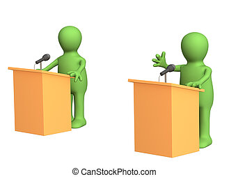 3d people - puppets, participating political debate. Object over white