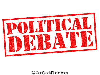 POLITICAL DEBATE red Rubber Stamp over a white background.
