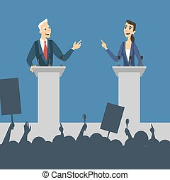 Political debates illustration. Man and woman politician...