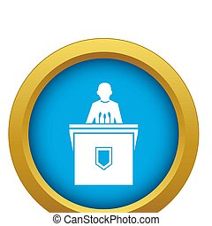 Political election speaker icon blue isolated
