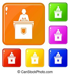 Political election speaker icons set color - Political...