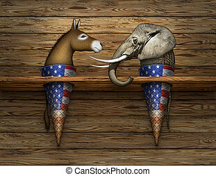 Political Elephant and Donkey Ice Cream Cones