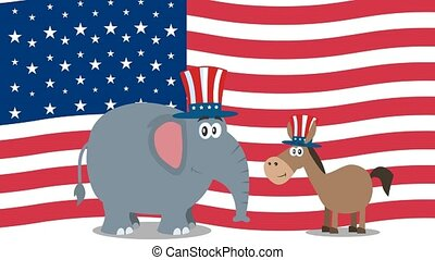 Political Elephant Republican And Donkey Democrat Over USA ...
