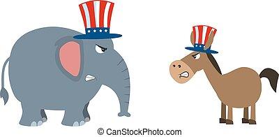 Political Elephant Republican Vs Donkey Democrat