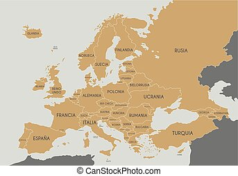 Political Europe Map vector illustration with country names in spanish. Editable and clearly labeled layers.