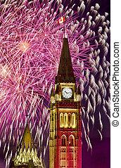 Political Fireworks - The canadian Parliament Centre Block...