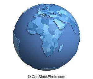 Political Globe, centered on Africa