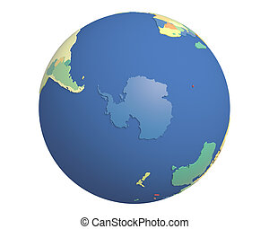 Political Globe, centered on Antarctica