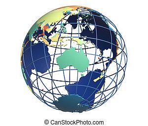 Political Globe, centered on Australia