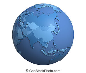 Political Globe, centered on China