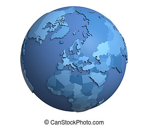 Political Globe, centered on Europe