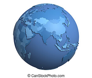 Political Globe, centered on India