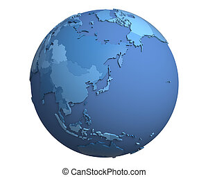 Political Globe, centered on Japan