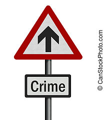 Political issue: \'rise in crime rate\' concept. Photo...