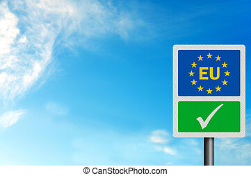 Political issues series: \'Yes to the EU\' concept, with EU letter
