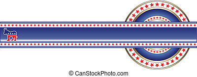Illustration of label with political theme of Democrat that can be used with your own custom text and colors.