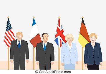 03.12.2017 Editorial illustration of the President of France Emmanuel Macron, the USA President Donald Trump, the Prime Minister of the UK Theresa May and the Chancellor of Germany Merkel.