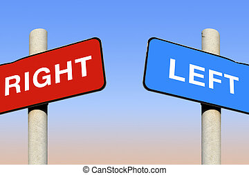Political left and right signs