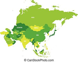 Political map of Asia continent in shades of green. Vector illustration