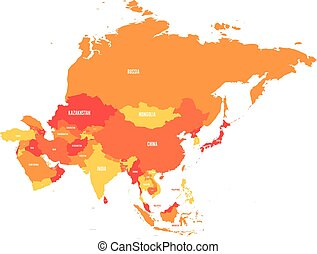 Political map of Asia continent in shades of orange. Vector illustration
