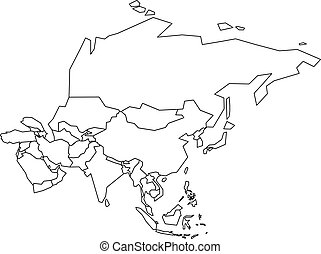 Political map of Asia. Simplified black wireframe outline. Vector illustration