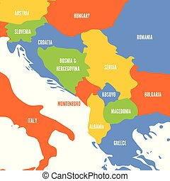 Political map of Balkans - States of Balkan Peninsula....
