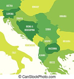 Political map of Balkans - States of Balkan Peninsula. Four...