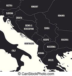 Political map of Balkans - States of Balkan Peninsula in...