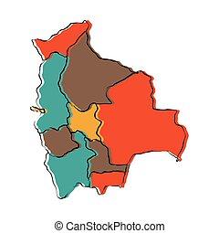 Political map of Bolivia
